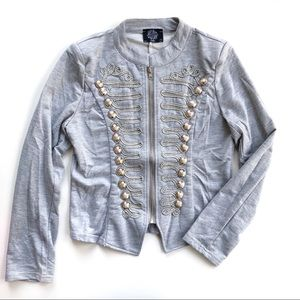 Hearts and Roses Military Jacket Zip Gray S